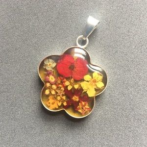 🌺Pressed Dried Flowers Pendent in Sterling